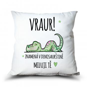 Polštář VRAUR! Miluji Tě i v dinosaurštině.
