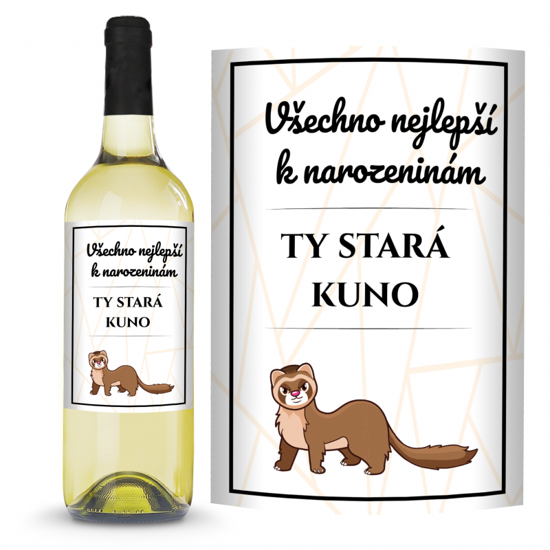 Víno Všechno nejlepší k narozeninám, ty stará kuno